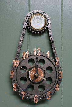 Wall clock metal chain industrial chic furniture