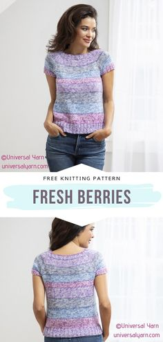 Free Knitting Patterns For Women, Sweater Knitting Patterns, Knitting Stitches, Crochet Patterns, Knitting Sweaters, Knitted Tank Top, Knit Tops, Summer Knitting, Clothes Crafts