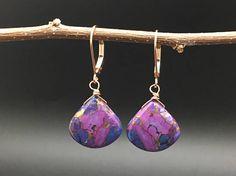Purple Mojave Turquoie Earrings Purple Stone Earrings Copper