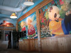 Wall with art and quotations at Celestial Seasonings Café, 2008.