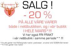 HJERTEHJORT: SALG!!! Å jadda! March- Sale!!