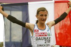 France. La Française Christelle Daunay a été sacrée championne d'Europe du marathon en 2 h 25 min 14 sec, le premier grand titre de sa carrière à 39 ans, samedi à Zurich.Une femme de 39 ans qui remporte un marathon que les médias ont peu honorée, quand on sait ce qu'est-ce la souffrance d'une course, félicitations et respect Madame .. ___________________________________