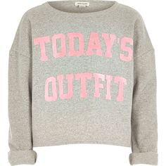 River Island Girls grey today's outfit print sweatshirt ($12) ❤ liked on Polyvore featuring kids and sale