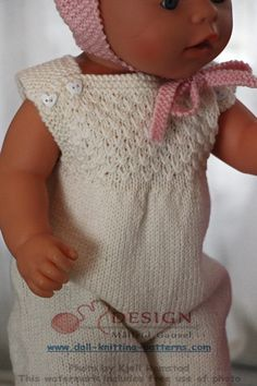 knit gorgeous doll clothes in pink and white Doll Patterns, Knitting Patterns, Baby Born Kleidung, Baby Born Clothes, Baby Knitting, Knitted Baby, Knit Crochet, Crochet Hats, Pullover