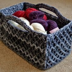 Rectangular Diamond Trellis Basket | Make My Day Creative- crochet a lid for the basket -dogs can't raid the yarn basket!!