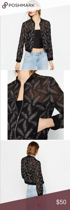 Zara Sheer Gold Leaf Embroidered Bomber Jacket Zara collection cropped bomber jacket. Sheer navy blue with gold leaf embroidered design throughout. Contrasting knit collar. Elastic cuffs and hem.  Zip front with two pockets on front. Took tags off but never worn. In perfect condition. Zara Jackets & Coats