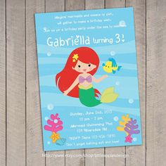 Mermaid Invitation / Little Mermaid by LittleApplesDesign on Etsy, $12.00