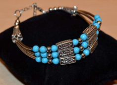 alpaca silver 3 strand beaded bracelet,turquoise colour from Nepal,floral design