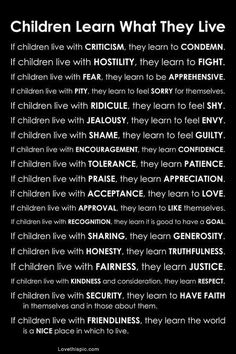 Children learn what they live- just a nice reminder to always beware of your words and actions.