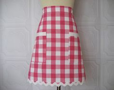 """Apron Demi Style Waist Apron Pink White Gingham from """"The Hip Hostess"""""""