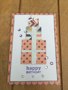 Handmade birthday card using patterned paper, washi tape, stamps & embellishments Stick Figures, Handmade Birthday Cards, Washi Tape, Embellishments, Stamps, Card Making, Happy Birthday, Activities, Paper