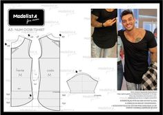 Sewing Pattern / Men's T-shirt Mens Sewing Patterns, Sewing Men, Sewing Clothes, Clothing Patterns, Diy Clothes, Dress Patterns, Men's Clothing, Diy Fashion, Mens Fashion