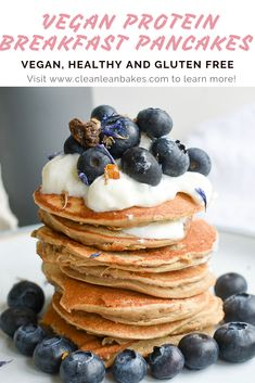 Nourish your mornings with these Healthy Vegan Protein Pancakes. They are packed with fibre, totally satisfying and contain 25 grams of Plant Based Protein. The perfect healthy start to your day. Vegan Protein Pancakes, Vegan Pancake Recipes, Protein Breakfast, Vegan Recipes, Vegan Keto, High Protein Recipes, Protein Foods, Breakfast Pancakes, Plant Based Protein