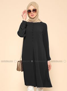 d1e81209ae8 Shop Button Detail Tunic - Black in Tunics category. Modanisa your online  muslim modest fashion
