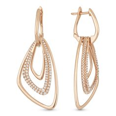 0.70ct Round Cut Diamond Pave Open-Design-Stack Drop Earrings in 14k Rose Gold - AlfredAndVincent.com