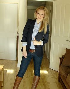 Anna - Jacket - Zara, Shirt - Kookai, Jeans - Miss Anna, Boots - Faith, Belt - Vero Moda