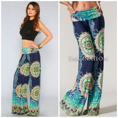 """Mai Tai"" Vintage 70's Tropical Boho Flare Palazzo Pants Silky Yoga Fold Waist | eBay"