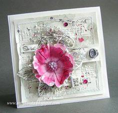 Art_Dorota (Dorota (Kopeć) Kotowicz: Monochromatycznie z różowym akcentem 3d Cards, Xmas Cards, Scrapbooking Layouts, Scrapbook Cards, Mixed Media Cards, Shabby Chic Cards, Card Making Inspiration, Pretty Cards, Watercolor Cards
