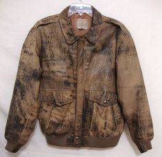 VTG Mens Leather Flight Bomber Jacket Full Zip Coat Distressed Brown Size 40