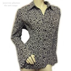 *SOLD* Women BLACK WHITE Pattern BUTTON DOWN Collar Career BELL LONG SLEEVE TOP SHIRT $1 sorry this top is SOLD .. we sell more WOMENS TOPS at http://www.TropicalFeel.com