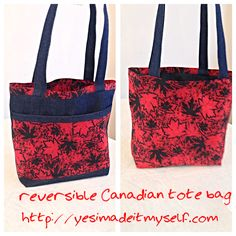 """Happy Canadian -maple leaf tote bag. 14""""X11"""" with 2 pockets, reversible.  Tutorials at http://yesimadeitmyself.com"""