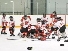 Penetanguishene atom AE Flames consolation champs at Peterborough tournament - Players celebrate after winning the consolation championship.