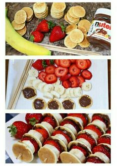 Mini Pancake Kebabs with Nutella 19 Glorious Ways To Eat Nutella For Breakfast Mini Pancake Kebabs with Nutella (just do mini pancake, banana slice, strawberry slice, on a toothpick? Mini Pancake Kebabs met Nutella - Food & Drink The Most Delicious Desser Breakfast Recipes, Snack Recipes, Cooking Recipes, Nutella Recipes, Food Recipes For Kids, Breakfast Ideas For Kids, Lunch Ideas Kids At Home, Easy Recipes, Dinner Ideas