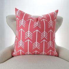 Coral Throw Pillow Cover, Arrow Pattern -ANY SIZE- Euro Sham, Cushion Cover, Coral White Decor, Custom Premier Prints, FREESHIP
