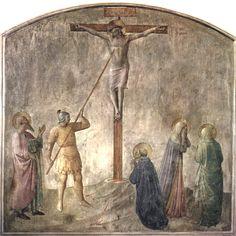 ANGELICO, FRA Vicchio di Mugello, Florencia, 1395 – Roma Cristo Crocifisso Ferito dalla Lancia di Longino, Santi c. 1437-1446. Fresco. 213 x 211 cm. Museo di San Marco, Florence.