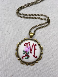 Embroidered necklace Initial necklace Embroidered fabric pendant Personalized embroidery monogram necklace Custom hand embroidery