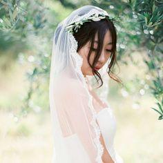 7. Mantilla Veil With Flower Crown - Cosmopolitan.com