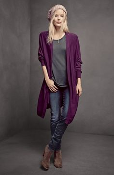Halogen® Cardigan & Tee, KUT from the Kloth 'Diana' Skinny Jeans Purple Cardigan Outfits, Winter Cardigan Outfit, Fall Winter Outfits, Autumn Winter Fashion, Casual Outfits, Cute Outfits, Jeans Skinny, Long Sweaters, Long Cardigan