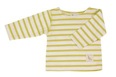 Yellow Breton T in organic cotton by Pigeon. Made in England. Baby Clothes Uk, Unisex Baby Clothes, Unique Baby, Worlds Of Fun, T Shirts, Organic Cotton, How To Make, How To Wear, Cute Outfits