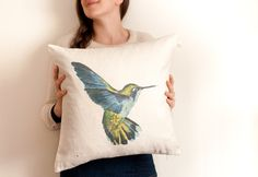 HUMMINGBIRD throw pillow/ large cushion cover/ square pillow
