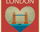 Tower Bridge and Heart - Travel Print Art - style E8-O-LON2