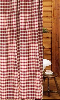 """Heritage House Check Barn Red Shower Curtain 72"""" x 72"""" available @ CountryPorch.com"""