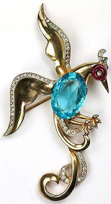 Trifari-Sterling-Ruby-Shoebutton-amp-Aquamarine-Landing-Bird-of-Paradise-Pin