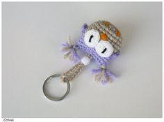 Handmade Keychain with Purple OwlCrochet Gift for by Etilinki