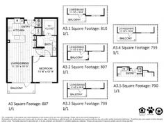 A3 – One Bedroom Apartment / One Bathroom  807 Square Feet