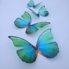 4 Natural Blue & Green 3D Flying Removable Butterflies Butterfly Home Decorations Wall Art 3D Wall Decal