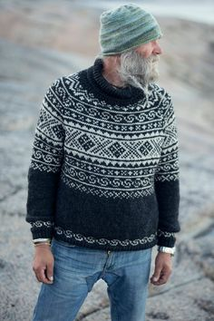 Knitted in beautiful and durable blend of 30 % alpaca and 70 % merino wool, this warm raglan sweater is inspired by traditional patterns found on old knitting in the valley of Setesdal, Norway. Fair Isle Knitting Patterns, Sweater Knitting Patterns, Mens Knit Sweater Pattern, Sock Knitting, Knitting Sweaters, Vintage Knitting, Free Knitting, Icelandic Sweaters, Pulls