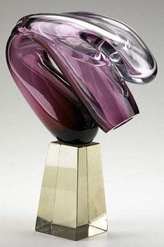 Glass Sculpture; Littleton (Harvey), inscribed 1977, Truncated Form, Amethyst, 11 inch.