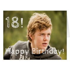 #template - #18th birthday for a boy with your portrait photo card
