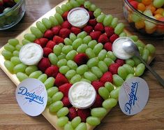 Baseball Party Idea ~ baseball diamond shaped fruit platter... fun! This is PERFECT for my family! #sister2sister #healthysnack sports party food