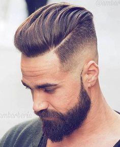 Medium Length Pompadour + Hard Side Part - Disconnected Undercut Hairstyles Pompadour Hairstyle, Undercut Hairstyles, Hairstyles Haircuts, Men Undercut, Men's Pompadour, Medium Hairstyles, Latest Hairstyles, Modern Pompadour, Funky Hairstyles