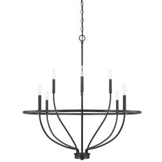The Greyson Chandelier brings clean vine-like lines to a variety of interior spaces. The curved frame is finished in Aged Brass, Matte Black, Chrome, Brushed Nickel, or Bronze. Available in 8 and 12 light options. Use with a variety of candelabra base bulbs to change up the look. Canopy: 5 inch diameter. UL listed. Bronze Chandelier, Chandelier Ceiling Lights, Chandeliers, Family Room Lighting, Family Room Chandelier, Kitchen Lighting, Suspension Cable, Lighting Showroom, Wagon Wheel Chandelier