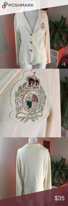 RALPH LAUREN SZ L IVORY BLAZER JACKET CREST EMBLEM Beautiful lightweight jacket Ralph Lauren Jackets & Coats