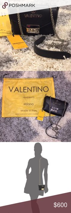 """NWT Valentino Cross body bag ACCEPTING ALL OFFERS • black shoulder bag or crossbody • genuine black leather bag • dustbag included  • tags attached • bag is against a 5'5"""" silhouette     ******If it's not sold by DECEMBER 5TH I am taking this listing down*******   Smoke free/Animal free home Valentino Bags Shoulder Bags"""