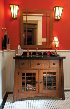 Arts And Crafts Bathroom The Custom Glass Sconces Bathroom Id