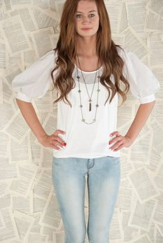 White Cotton Puffy Sleeve Blouse